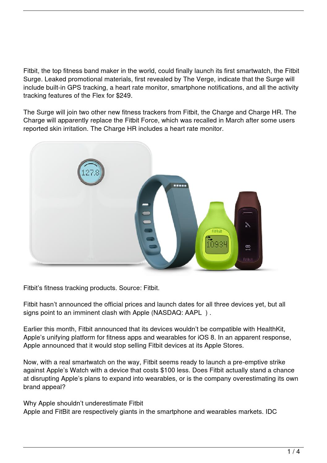 Will The Fitbit Surge Kill The Apple Watch? by ...