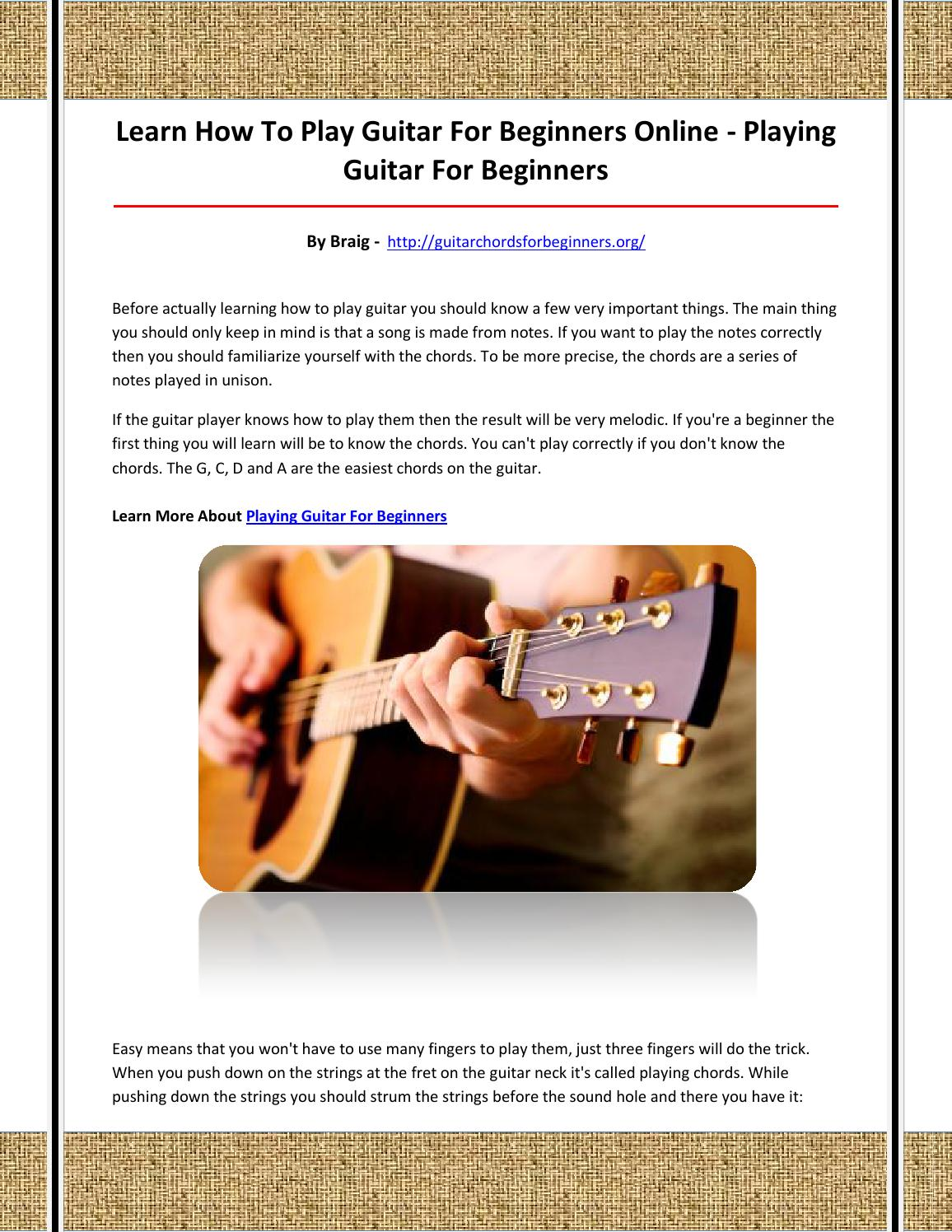 Playing Guitar For Beginners By Lasa King Issuu