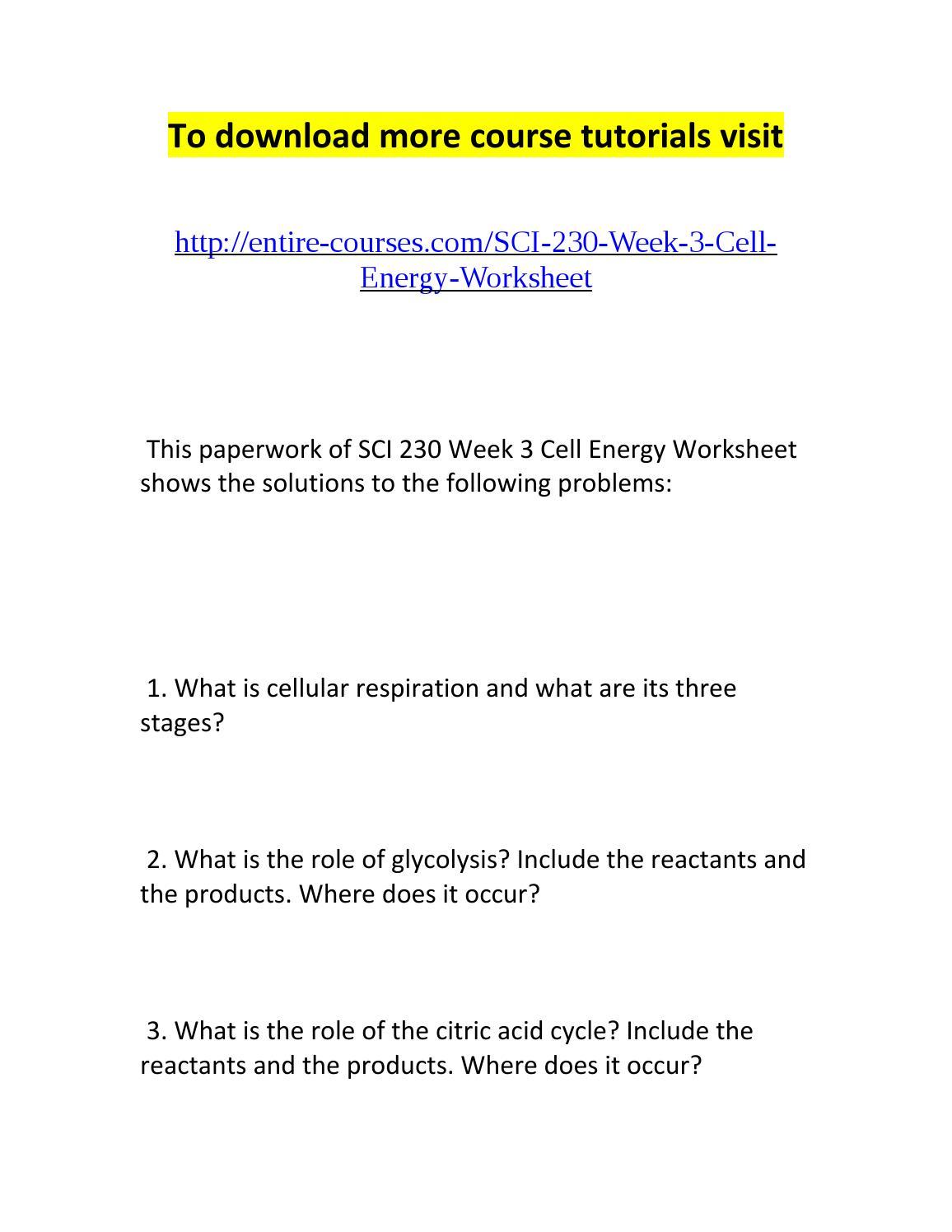 Sci 230 week 3 cell energy worksheet by Gary Kue - issuu