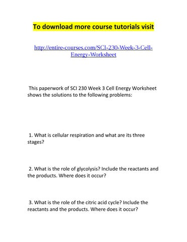 Sci 230 week 3 cell energy worksheet by Gary Kue - issuu