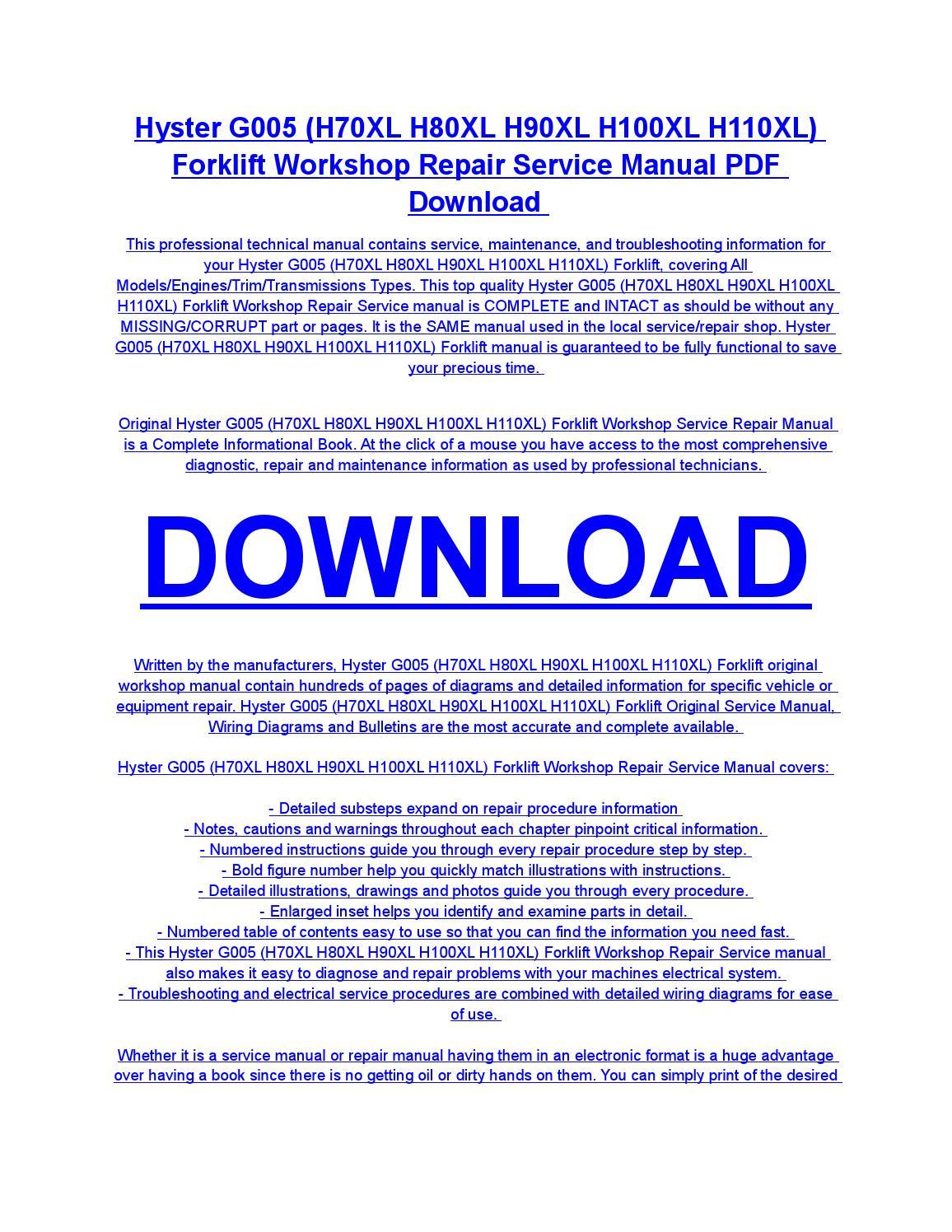Hyster g005 (h70xl h80xl h90xl h100xl h110xl) forklift service repair  workshop manual download by diaz rondon - issuu