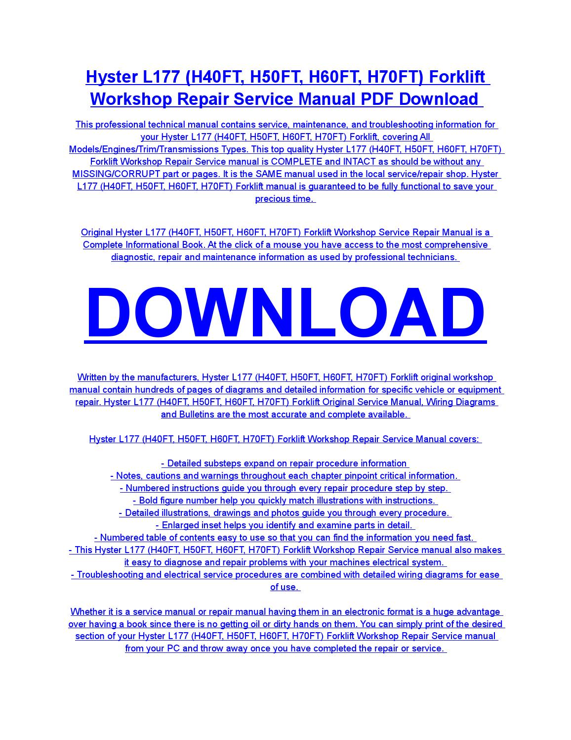 Hyster l177 (h40ft, h50ft, h60ft, h70ft) forklift service repair workshop  manual download by diaz rondon - issuu