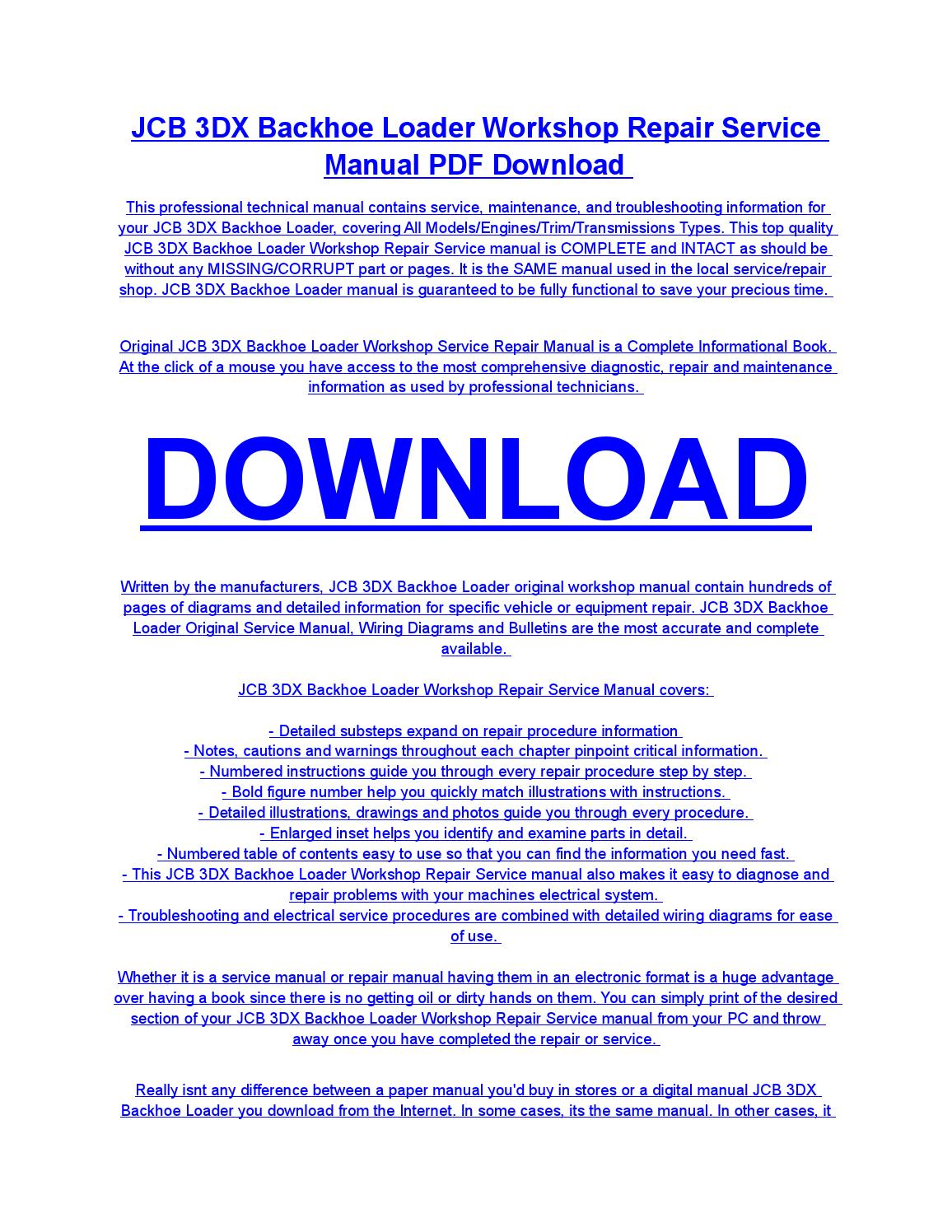 Jcb Wiring Diagram Pdf For Forklifts 3dx Backhoe Loader Service Repair Workshop Manual Download By Rh