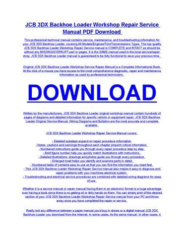 jcb 3dx backhoe loader service repair workshop manual download by rh issuu com jcb 3dx service manual pdf jcb 3dx operator manual