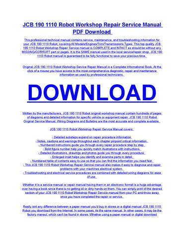 jcb 190 1110 robot service repair workshop manual download