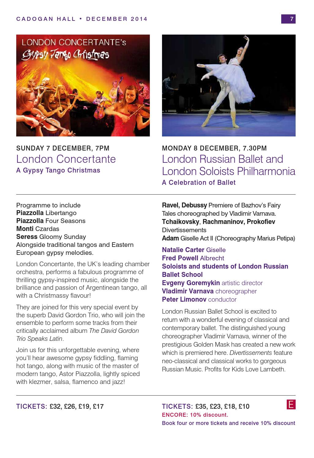 Cadogan Hall events brochure - Winter 2014/15 by Cadogan