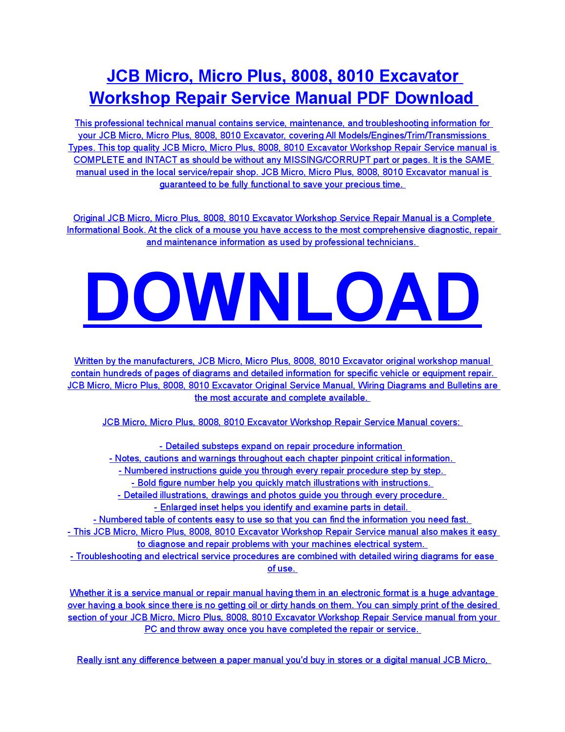Jcb micro, micro plus, 8008, 8010 excavator service repair workshop manual  download by diaz rondon - issuu