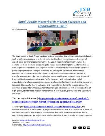 JSB Market Research: Saudi Arabia Masterbatch Market Forecast and