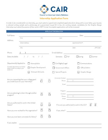 4 Internship Application Form 1 By Cair Houston Issuu