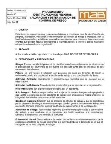 Pd ssma 16 10 identificacion de peligros y control riesgos by ...