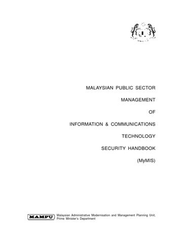 Malaysian Public Sector Management Of Information Communications Technology Security Handbook Mymis