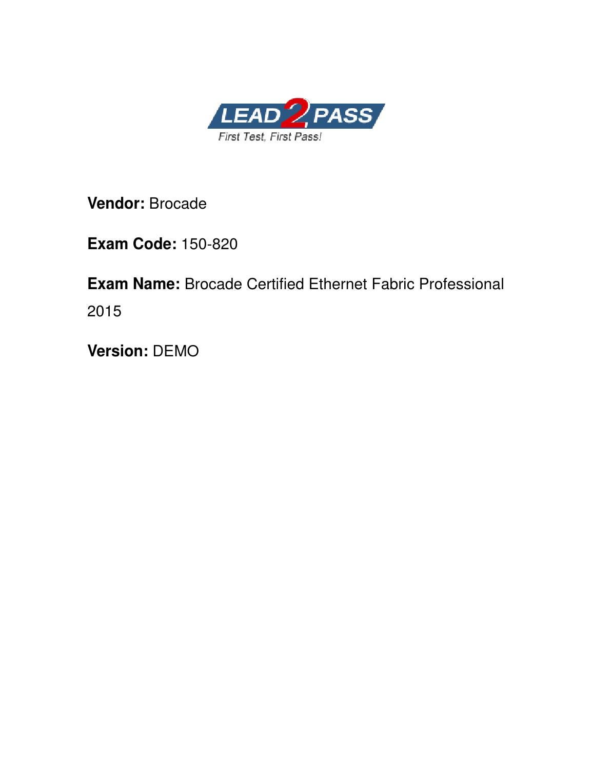 Lead2pass Brocade 150 820 Study Materials With Real Exam Questions