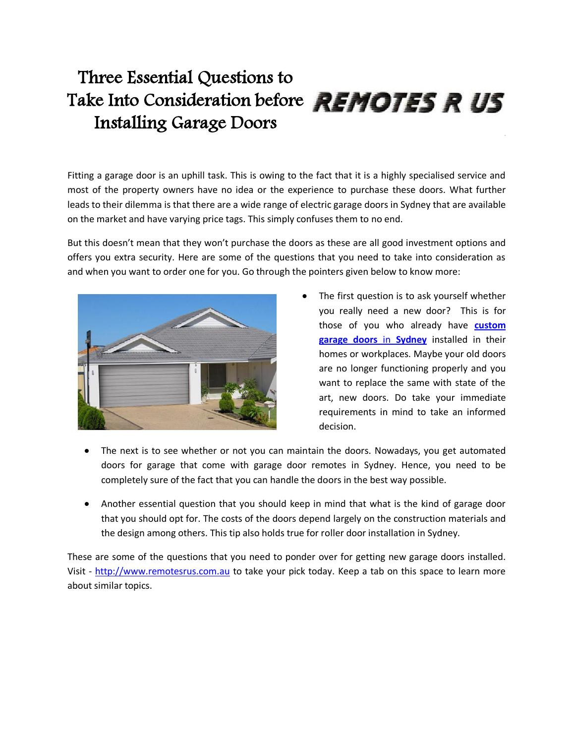 Three essential questions to take into consideration before three essential questions to take into consideration before installing garage doors by garagedoor issuu solutioingenieria Choice Image