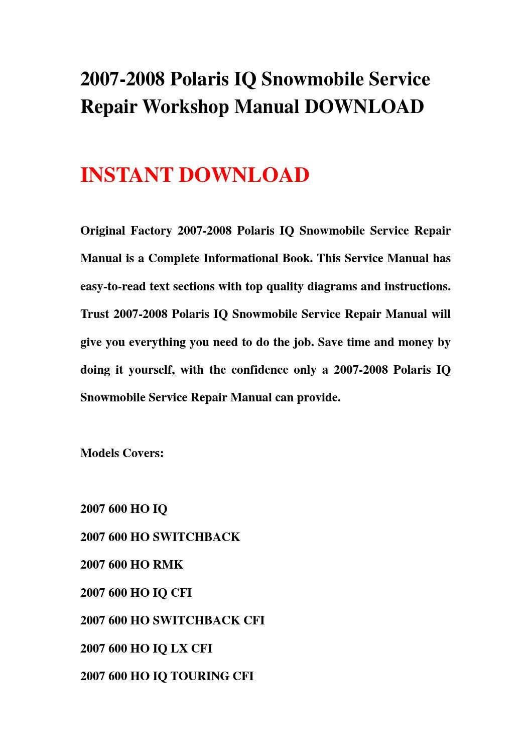 2007 2008 Polaris Iq Snowmobile Service Repair Workshop Manual Download By Kksjefnh Uhshenf