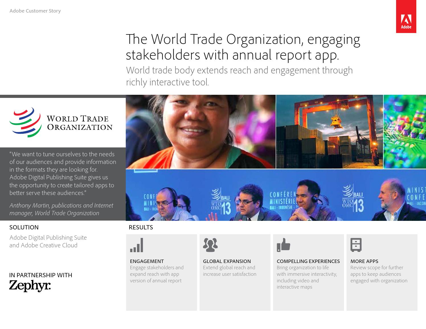 World Trade Organization Annual Report app case study by