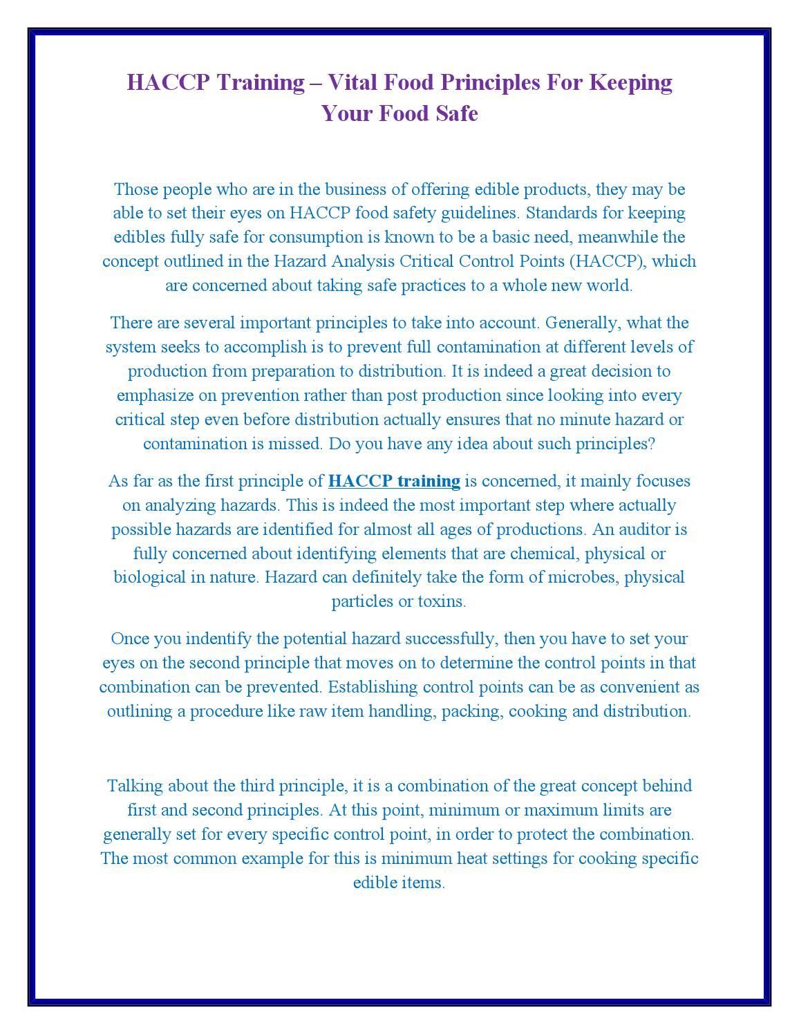 Haccp training vital food principles for keeping your food safe by haccp training vital food principles for keeping your food safe by thomas klinger issuu altavistaventures Image collections