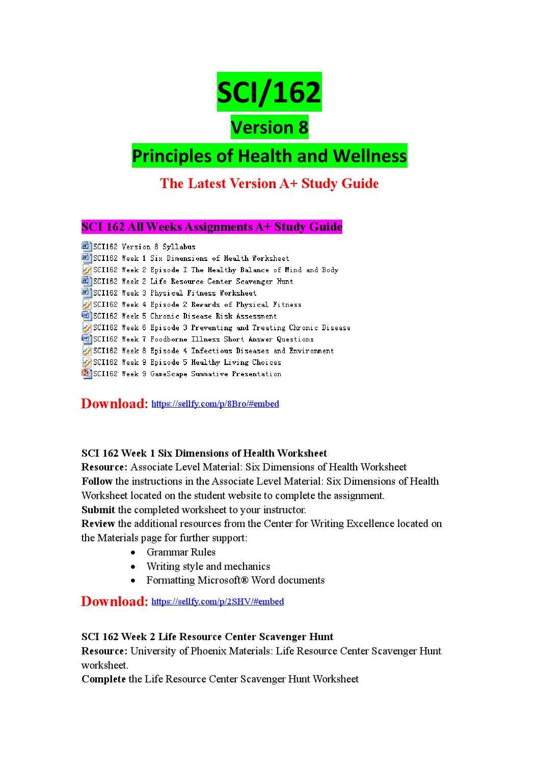 sci 162 six dimensions worksheet View notes - principles of health and wellness week 1 assignment 1 from science sci 162 at university of phoenix six dimensions of health worksheet sci/162 version 5 1 associate level material six.