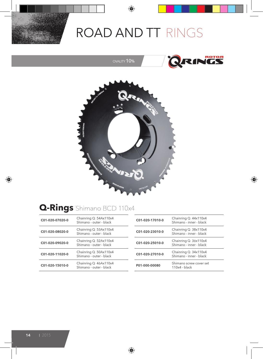 Rotor Q Chainring Black 46Ax110x4 Shimano