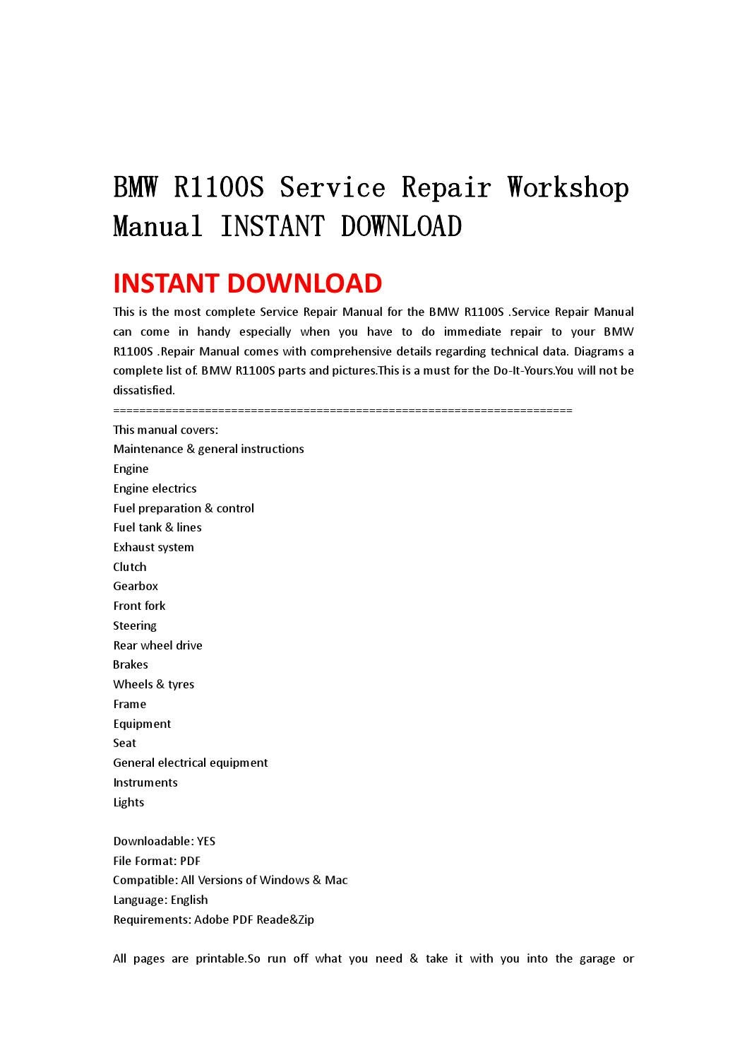 bmw r1100s service repair workshop manual instant download. Black Bedroom Furniture Sets. Home Design Ideas