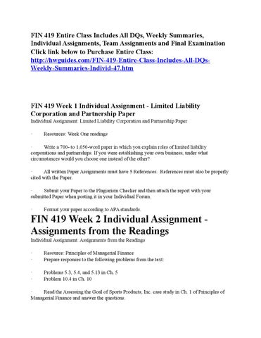 fin 419 assignments from the readings Fin 419 complete class, fin 419 uop assignments, fin 419 uop materials   see more ideas about computer books, curriculum and day care.