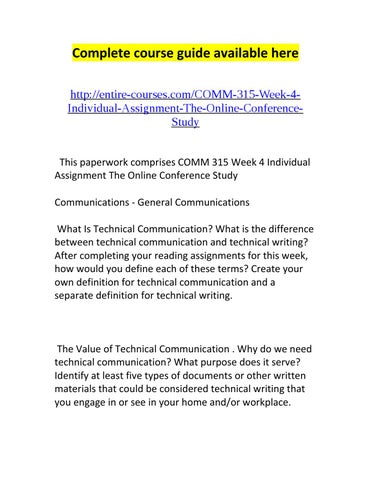 Comm 315 week 4 individual assignment the online conference study by complete course guide available here httpentire coursescomm 315 week 4individual assignment the online conferencestudy this paperwork comprises comm fandeluxe Images