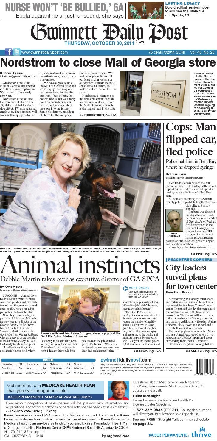 Gwinnett Daily Post — October 30, 2014 by Gwinnett Daily