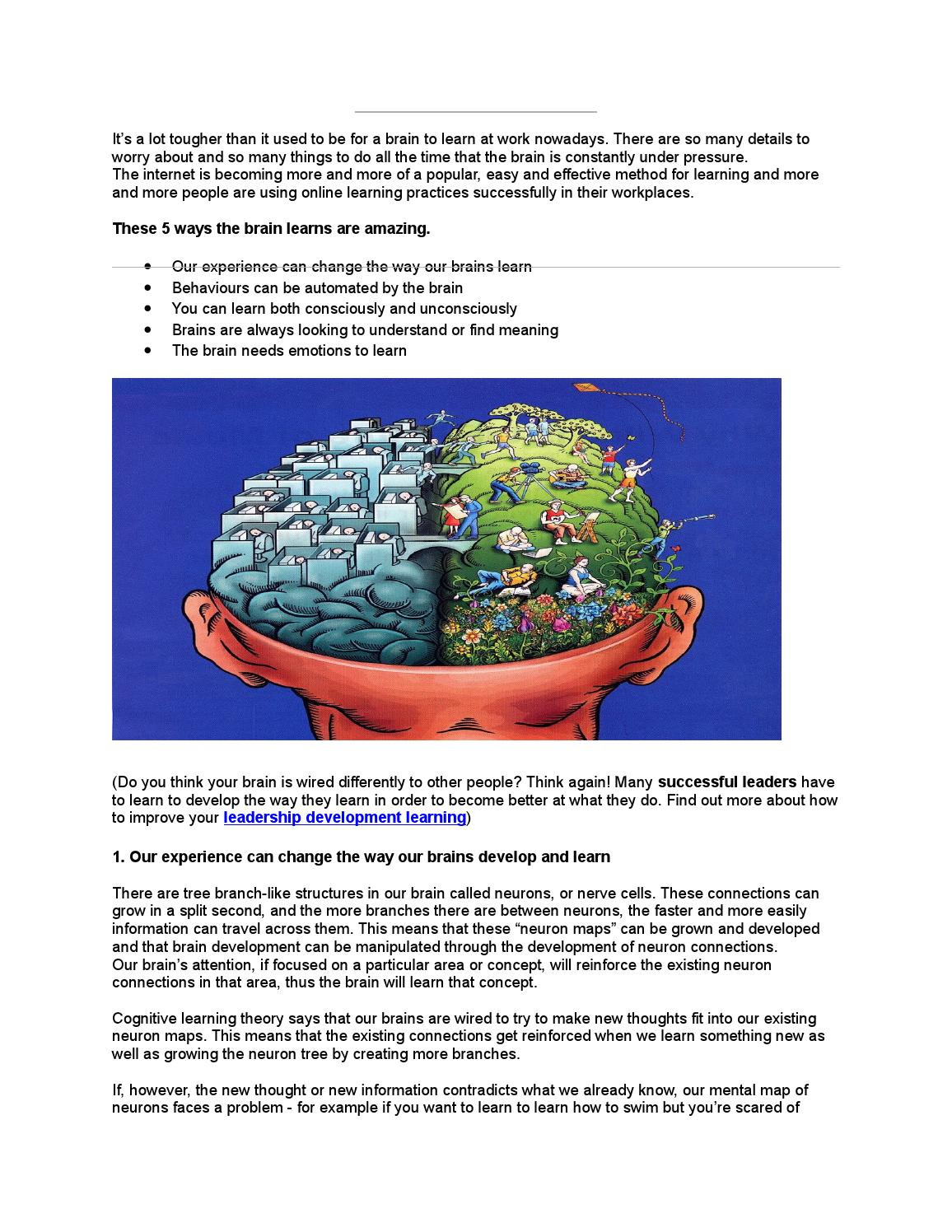 Our brain learns in several ways by Mantlemarketing - issuu