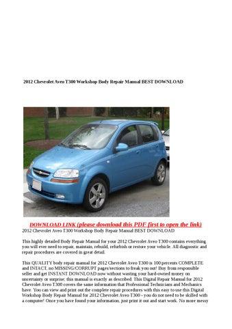 2012 Chevrolet Aveo T300 Workshop Body Repair Manual Best Download