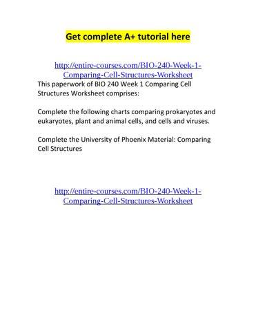 Cell Structure Worksheet Bio 240: Bio 240 week 1 comparing cell structures worksheet by Keith Wilson    ,