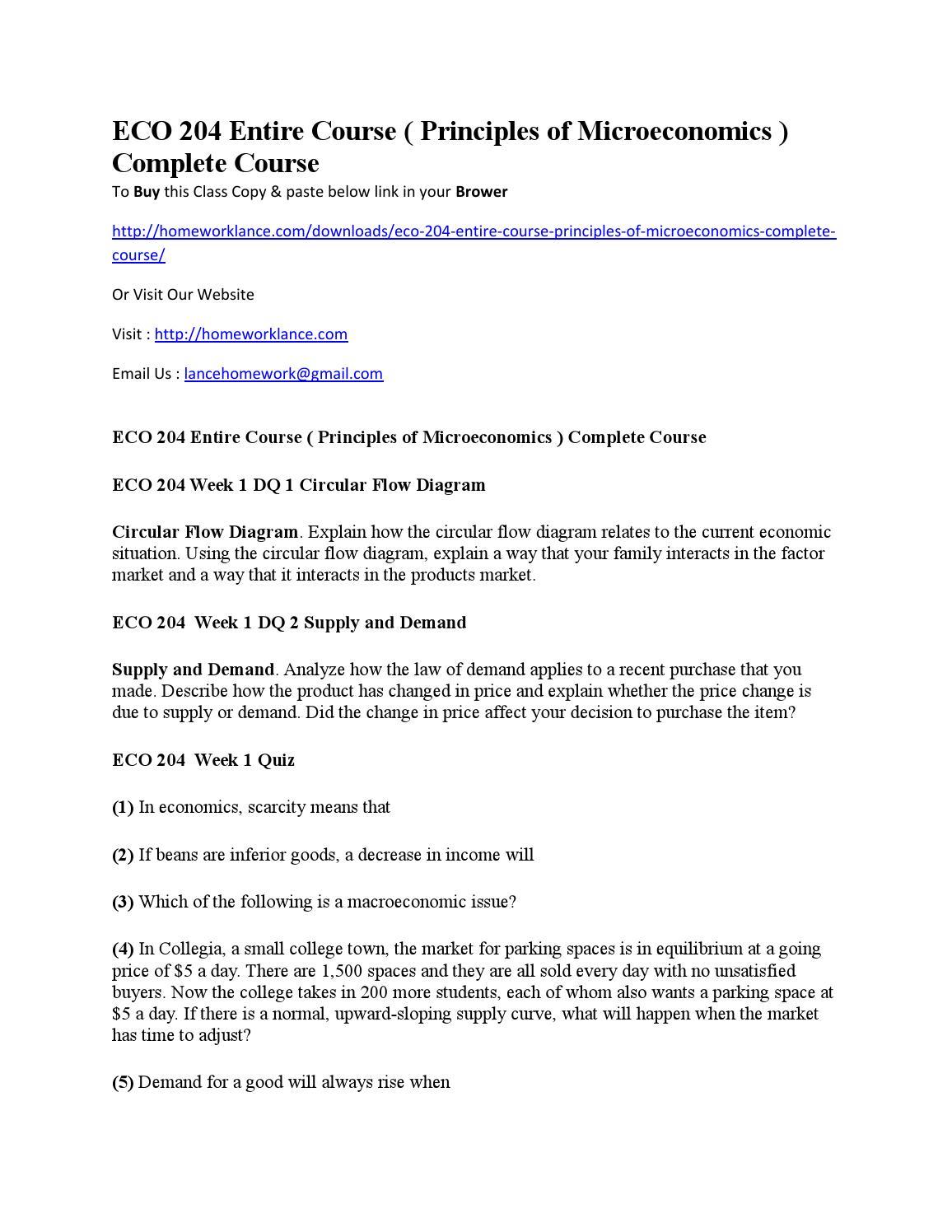 Eco 204 Entire Course Principles Of Microeconomics Complete