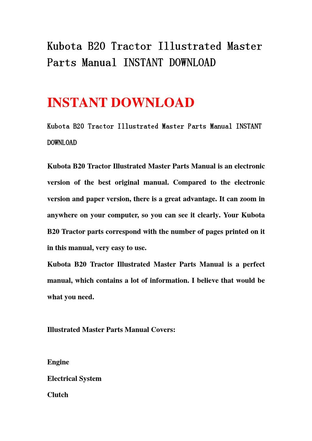 Kubota b20 tractor illustrated master parts manual instant download by  ksmefn mfjnse - issuu