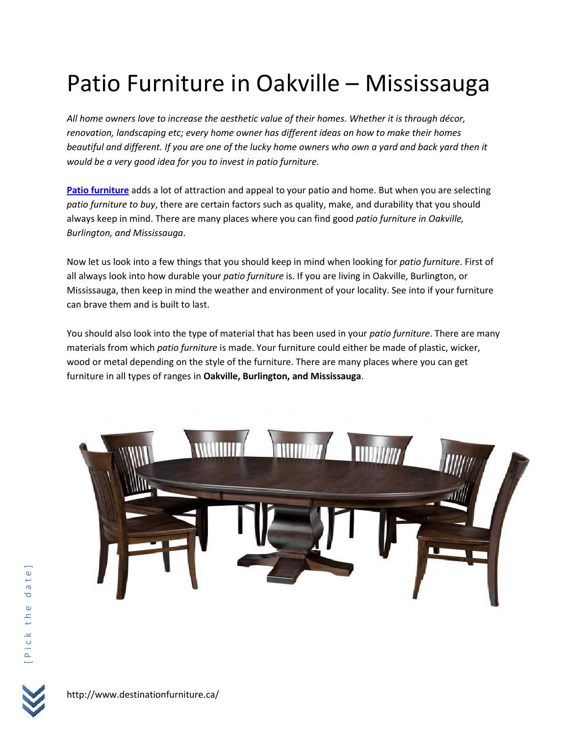 Patio Furniture In Oakville By