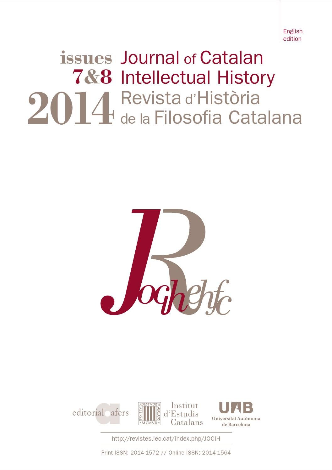 Journal of Catalan Intellectual History by Institut d\'Estudis ...