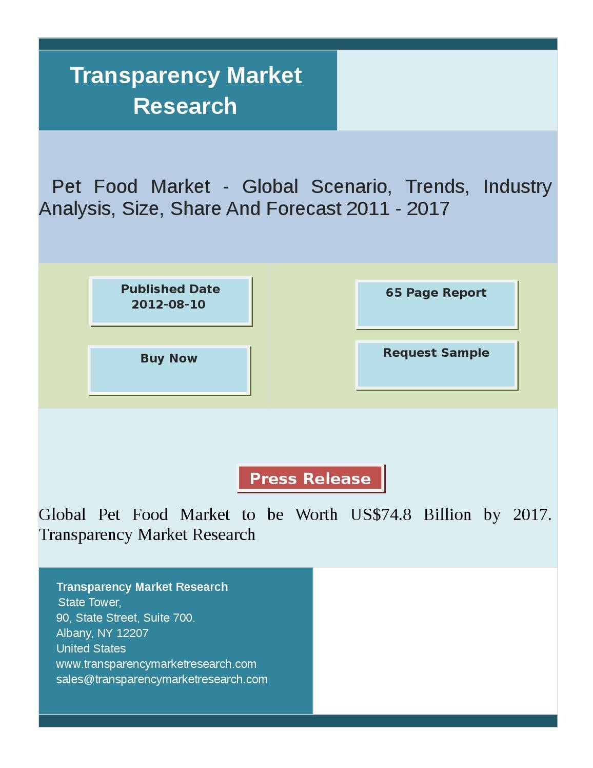 Global Pet Food Market to be Worth US$74 8 Billion by 2017