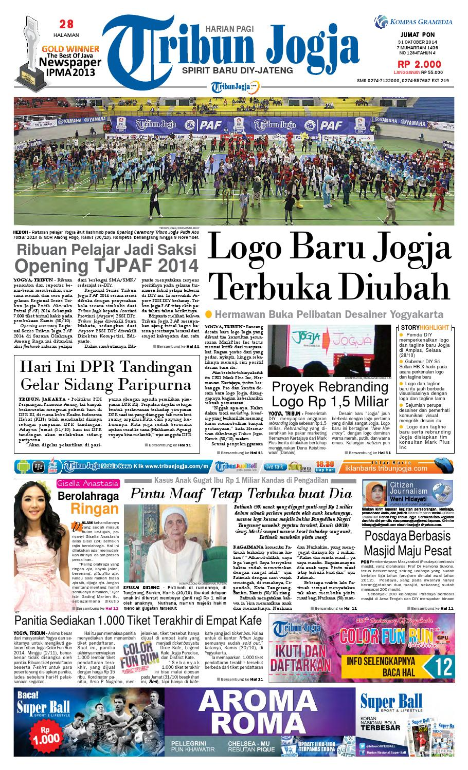 Tribunjogja 31 10 2014 By Tribun Jogja Issuu Produk Ukm Bumn Jamu Kunyit Asam Seger Waras