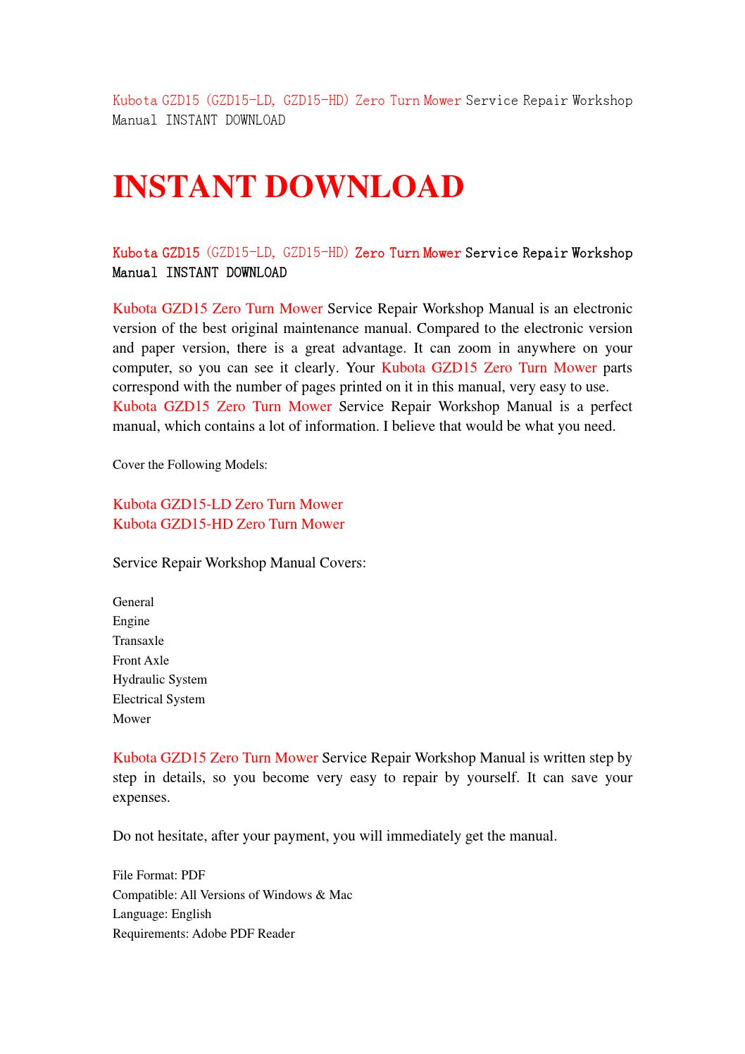 Kubota gzd15 (gzd15 ld, gzd15 hd) zero turn mower service repair workshop  manual instant download by jfhnn mkjnd - issuu