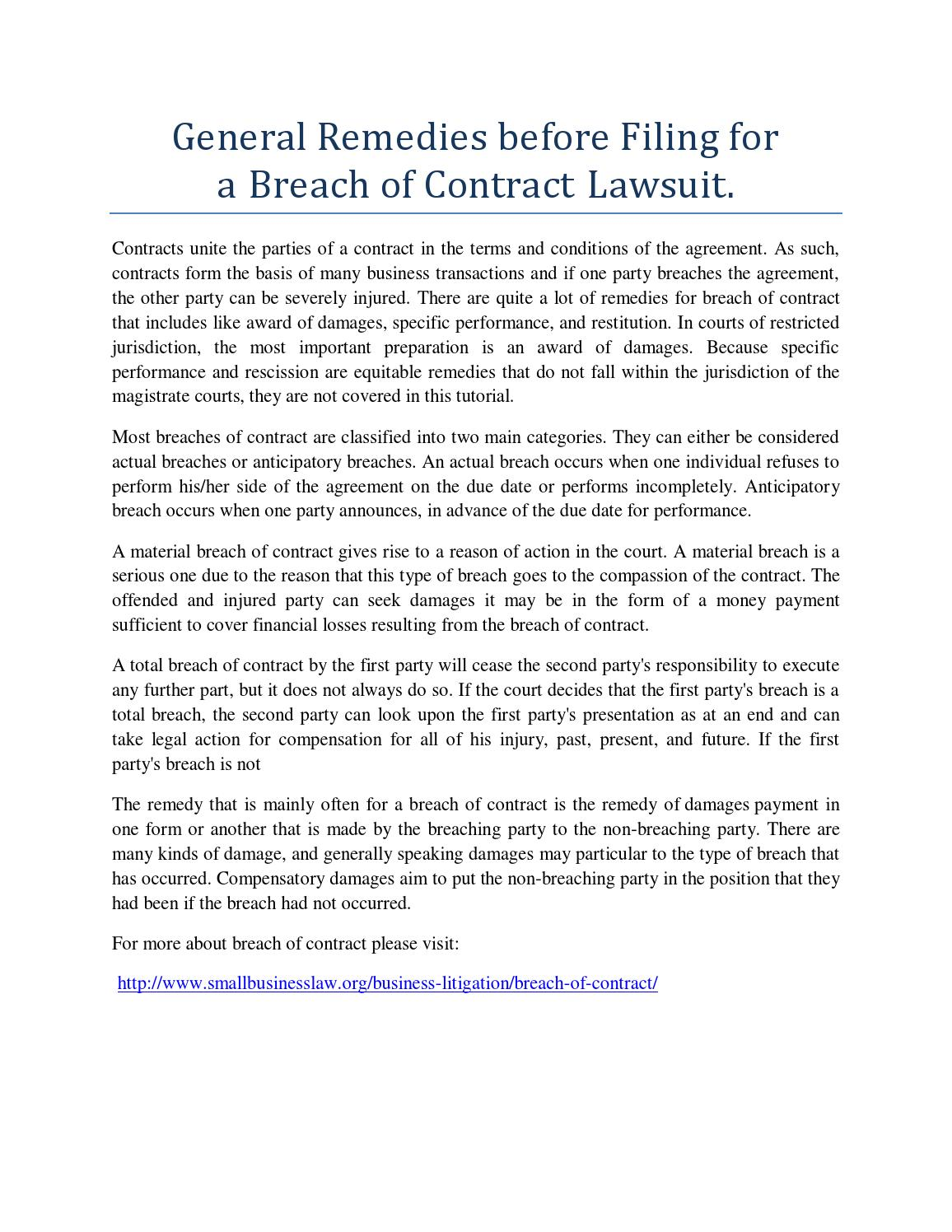 Superb General Remedies Before Filing For A Breach Of Contract Lawsuit. By  Katherina   Issuu