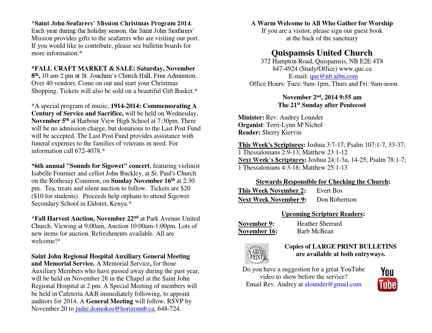 Free Talk Wednesday November 5th In >> November 2 Announcements By Quispamsis United Church Issuu