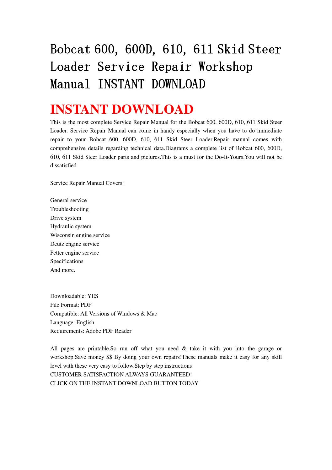 Bobcat 611 Manual Engine Mount Diagram And Parts List For Murray Walkbehindlawnmower Array 600 600d 610 Skid Steer Loader Service Repair Workshop Rh Issuu Com