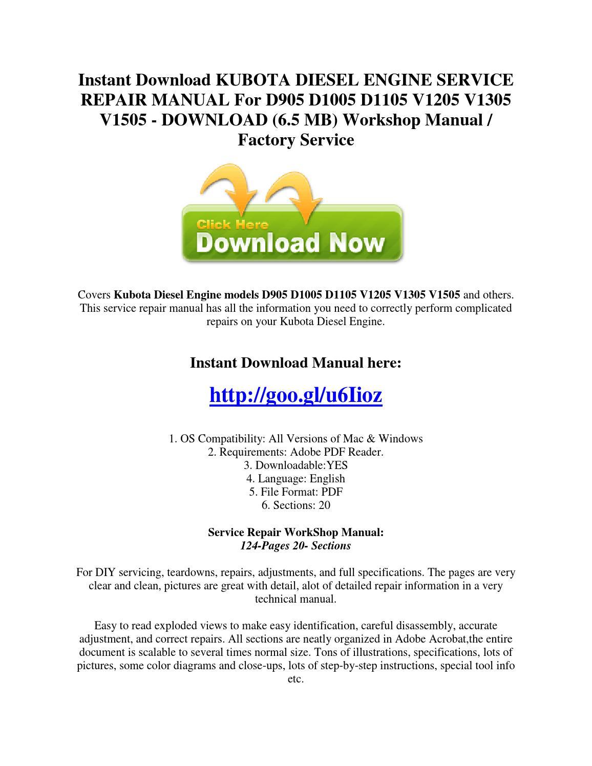 Instant download kubota diesel engine service repair manual for d905 d1005  d1105 v1205 v1305 v1505 by ServiceManualsDownloadOnline - issuu