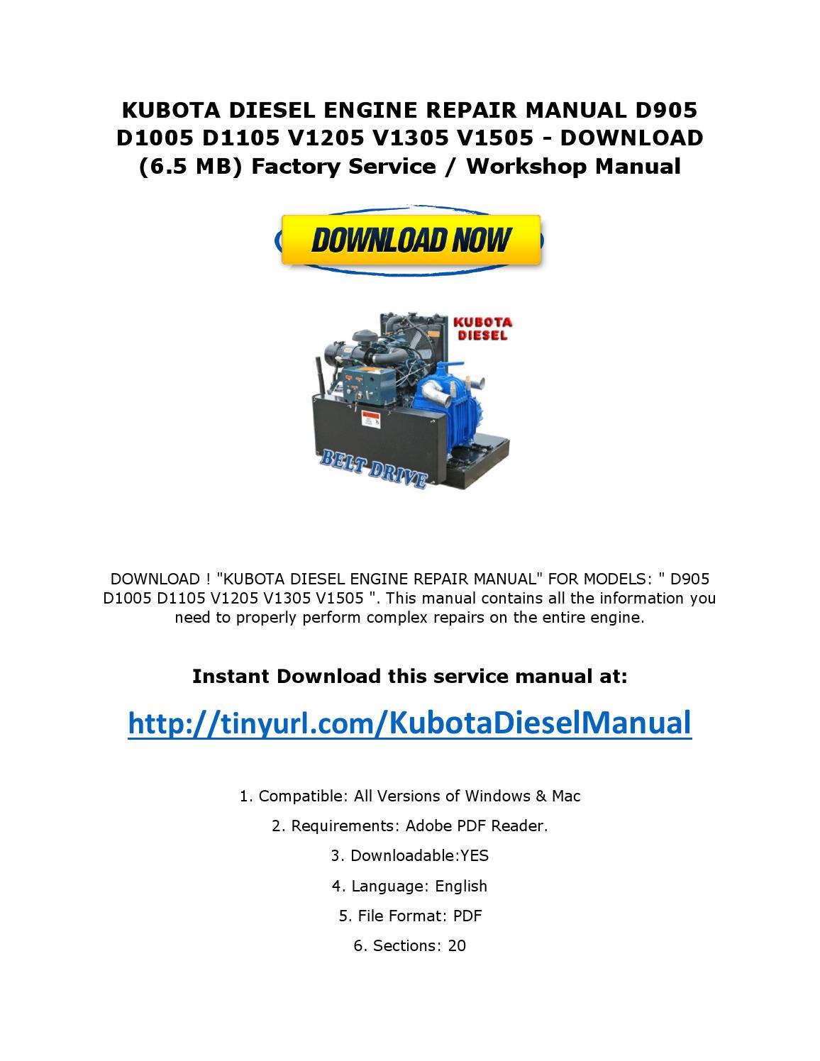 Kubota diesel engine repair manual d905 d1005 d1105 v1205 v1305 v1505 by  ServiceManualsDownloadOnline - issuu