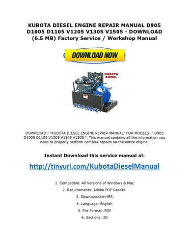 kubota diesel engine repair manual d905 d1005 d1105 v1205 v1305 v1505 -  download (6 5 mb) factory service / workshop manual