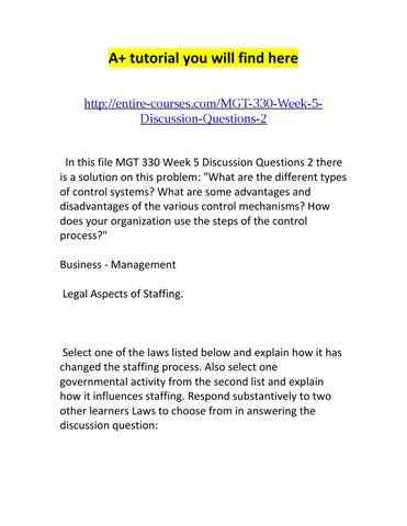 MGT521 Management Entire Course