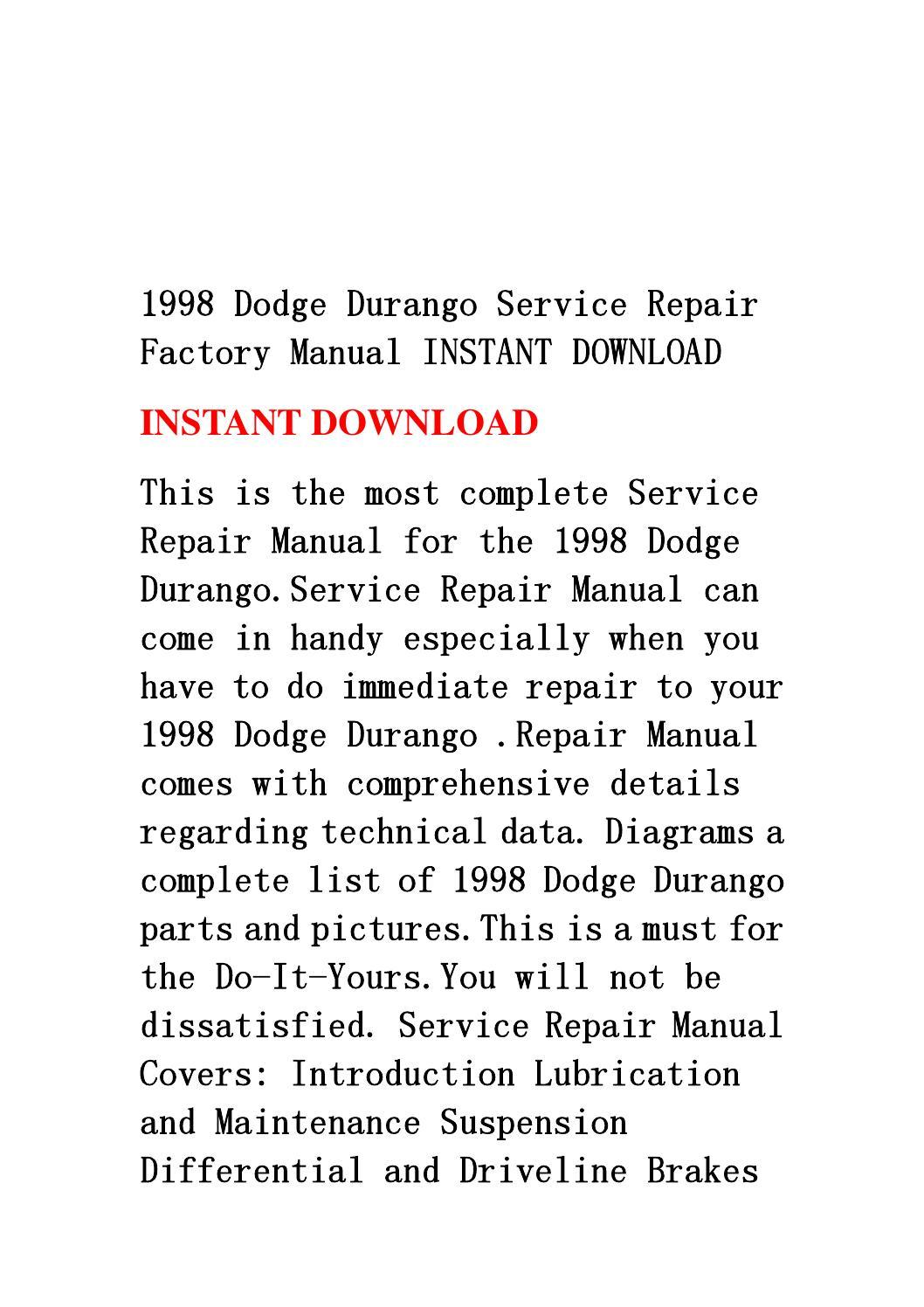1998 dodge durango service repair factory manual instant. Black Bedroom Furniture Sets. Home Design Ideas