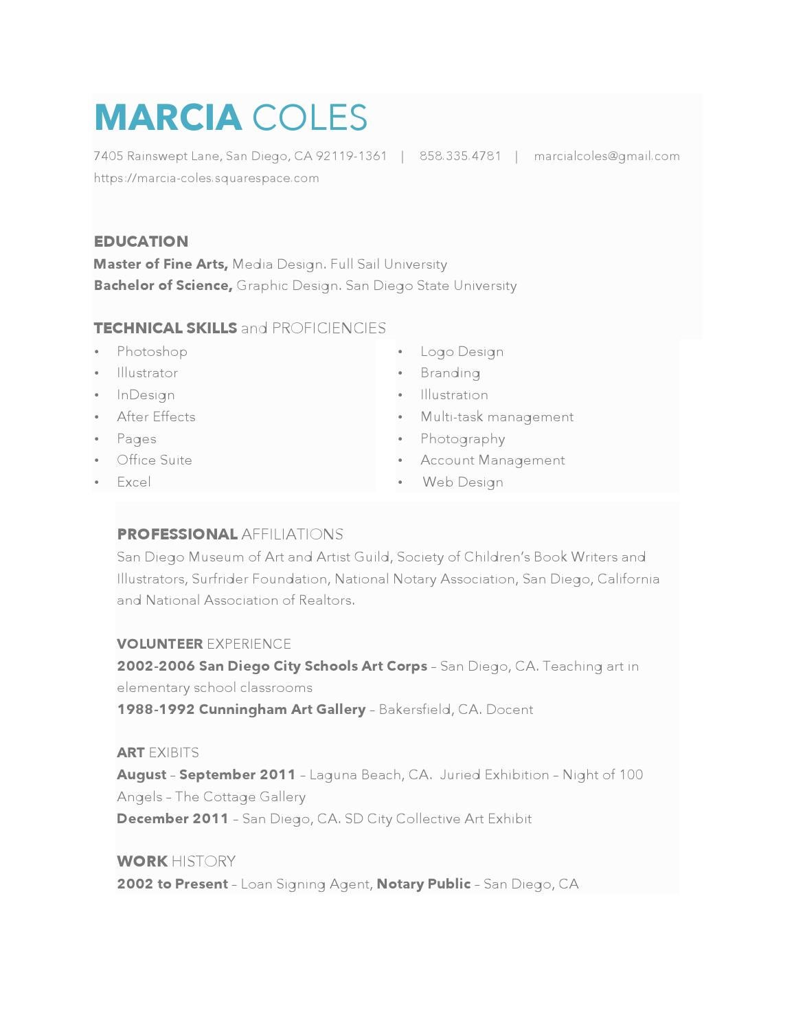 marcia coles resume by marciacoles