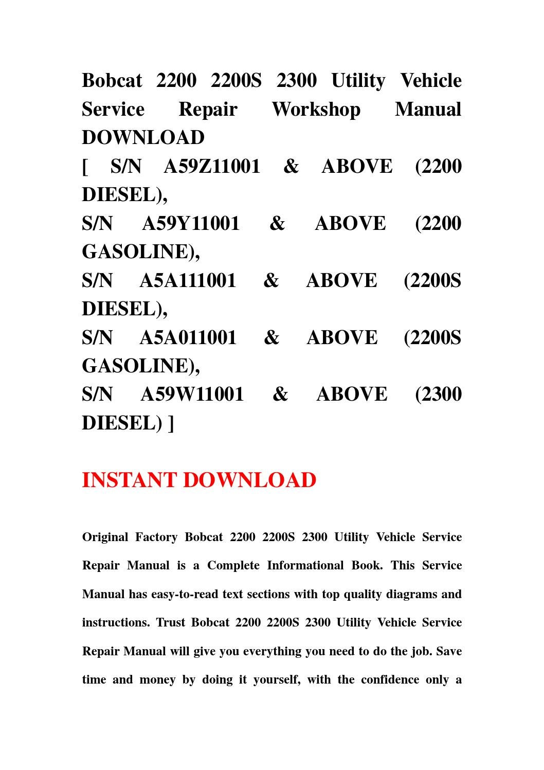 Bobcat 2200 2200s 2300 utility vehicle service repair workshop bobcat 2200 2200s 2300 utility vehicle service repair workshop manual download by kksjfnnse mkfjsemf issuu solutioingenieria Choice Image