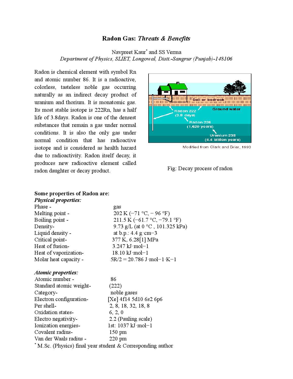 Radon by prof s s verma issuu buycottarizona