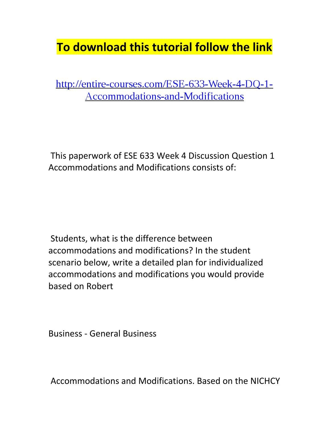 The Difference Between Accommodations And Modifications >> Ese 633 Week 4 Dq 1 Accommodations And Modifications By Amber