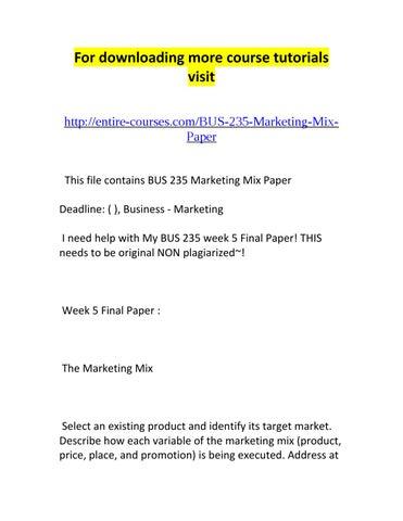 marketing mix paper
