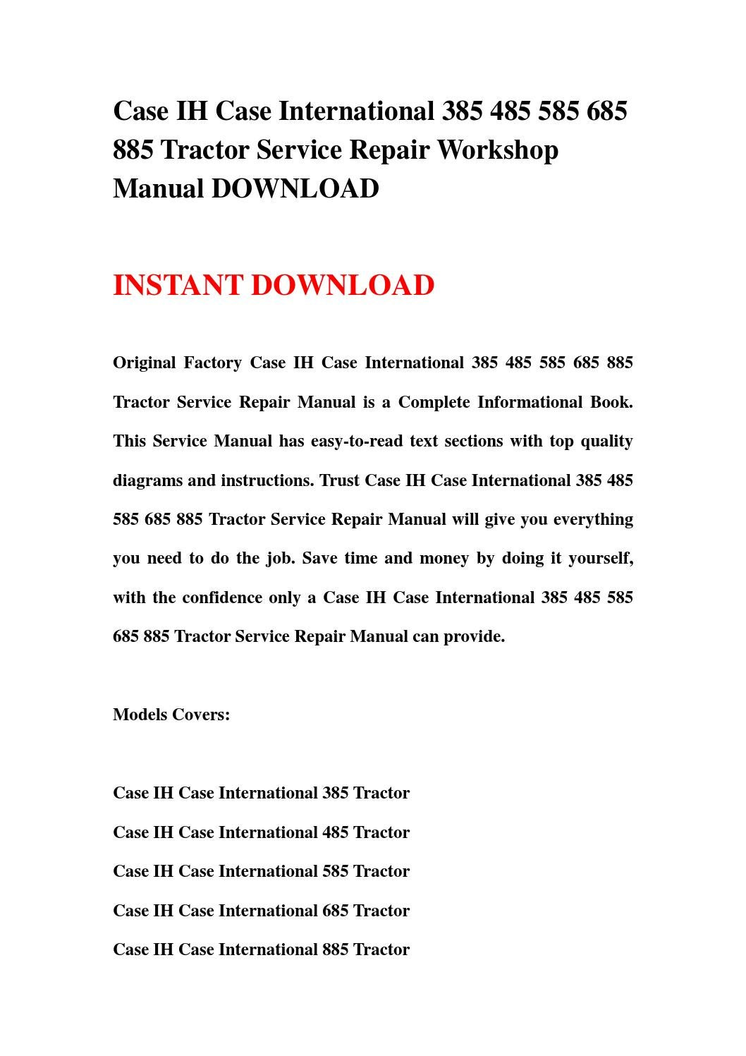 Case ih case international 385 485 585 685 885 tractor service repair  workshop manual download by skefjnsnef mkfjef - issuu